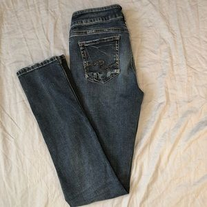 Silver Jeans Elyse Straight Leg Mid Rise Distressed Jeans size 26